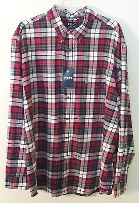 d44f2055db39 MENS CHAPS L/S Blue/Red/White Plaid Flannel Shirt, Small, 100 ...