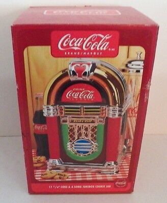 """Gibson Coca-Cola Coke & A Song Jukebox Cookie Jar 11 1/4 """" tall  NEW Mint in Box"""