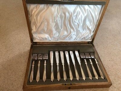 Twelve-piece Boxed Silverplate Fish Knife And Fork Set