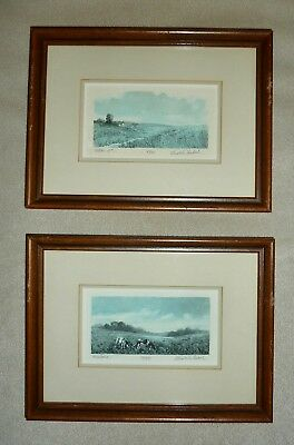 2 SMALL MATTED,FRAMED,SIGNED LIMITED ED PASTURAL ETCHINGS by *GERALD LUBECK*