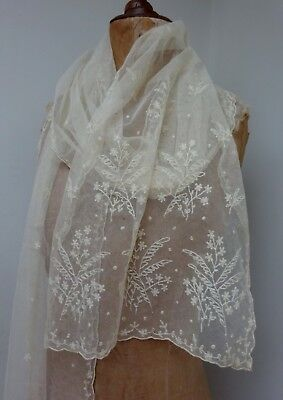 Gorgeous Long Embroidered Antique Lace Wedding Shawl Scarf Veil Limerick Tambour