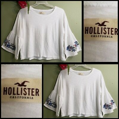 Hollister woman casual formal size XS Over Sized Crop Top bell sleeve