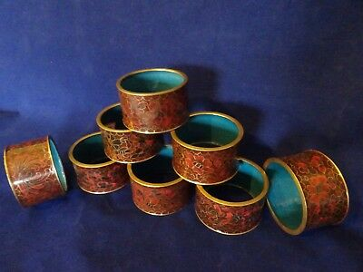 Vintage Set of 8 Chinese Cloisonne Enamelled Napkin Rings