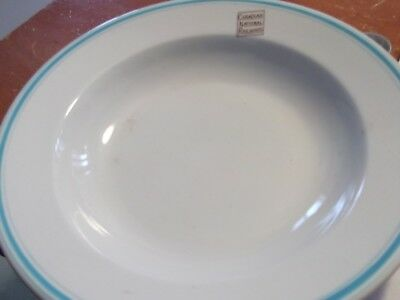 Canadian National Railways 1950S Large Soup Bowl-Turquoise Border-Look!
