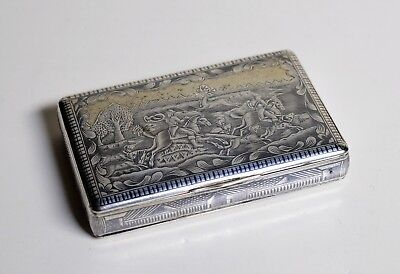 Hound Hunting 1834 Antique Russian Niello Silver Tabatiere Tobacco Snuff Box