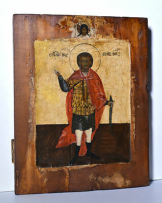 Antique 19C Russian Orthodox Tempera Painted Icon : John Warrior Saint Ioann