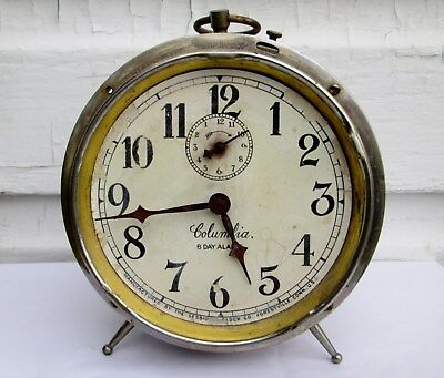"""ANTIQUE Vintage 8-Day Alarm """"Columbia"""" by Sessions Clock Co PAT DEC 31 1912"""