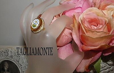 TAGLIAMONTE(856)Ring*YGP/925*Floral Micro-Mosaic set in Amber Venetian Glass