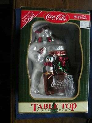 Coca-Cola Table Top Glass Figurine Polar Bear North Pole coke machine w/Penguin