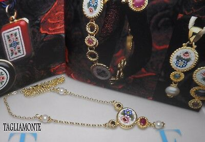 """TAGLIAMONTE(737)Necklace*18""""L*YGP925*Floral Micro-Mosaic*Ruby*Sapphires*Pearls*"""