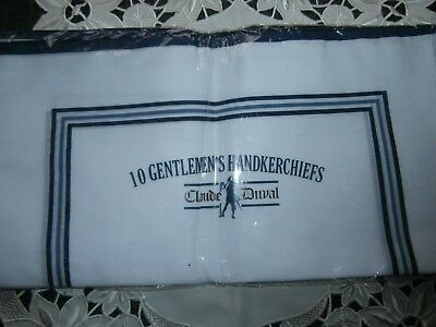 PACK of 10 GENTLEMEN'S WHITE COTTON MIX HANDKERCHIEFS by CLAUDE DUVAL