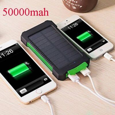 50000mah Dual-USB Waterproof Solar Power Bank Battery Charger for Cell Phone