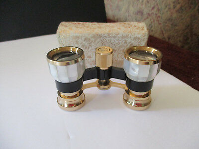 Vintage 2.5 Opera Glasses Mother of Pearl w/Original Silk Case