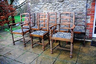 8 Gorgeous Antique French Barley Twist Carved Solid Oak  Farmhouse Chairs c1900