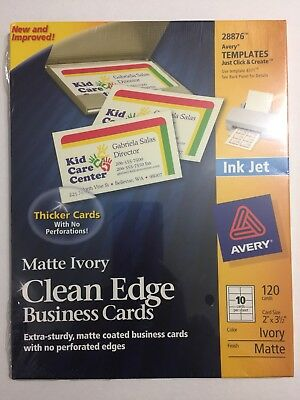 Avery Clean Edge Matte Ivory Business Cards 28876 120 cards Ink jet NEW