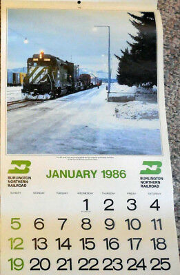 1986 Burlington Northern Railroad - Color Calendar - submitted BN Employees