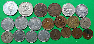 Mixed Lot of 21 Different Old Italy Coins 1861-1950  !!  A