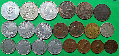 Mixed Lot of 21 Different Old Italy Coins 1861-1949  !!  B