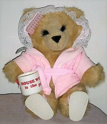 """Vintage 1986 Mattel Emotions Plush """"Housework is the Pits"""" Lady Teddy Bear"""