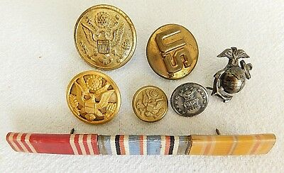 Vintage Lot of Military Pins Buttons Ribbons U.S. Navy and more WWII? - 7 items