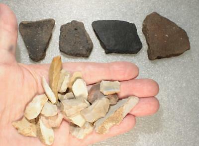 a handful flint tools and shards european Linear pottery cultur 5000-4000BC