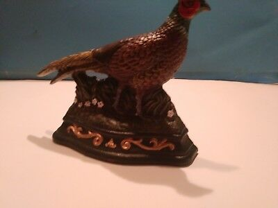 Vintage  Cast Iron Pheasant Door Stop or Bookend Hand Painted by Wright Studios