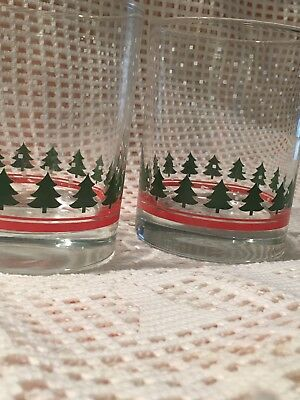 Waechtersbach Germany RED CHRISTMAS TREE 2 Double Old Fashioned Glasses, EUC!!!