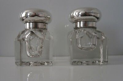 Superb Pair Heavy Solid Silver Victorian Inkwells Fully Hallmarked London 1875