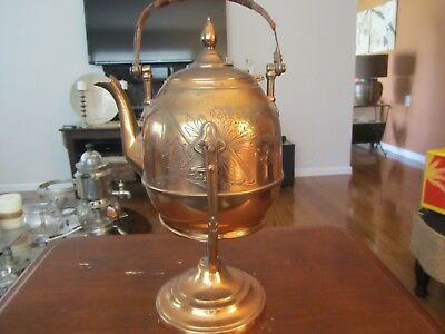 Antique 1862 Copper Tea Pot On Stand With Warmer E.b. Manning's