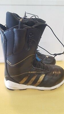 2015 MENS ADIDAS BLAUVELT SNOWBOARD BOOTS  375 black metallic gold white  USED 9 a1c73c067
