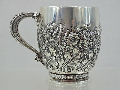 "GORGEOUS ANTIQUE TIFFANY STERLING SILVER CUP MUG HAND CHASED REPOUSSE ""Charles"""