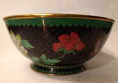 Chinese Cloisonne Bowl Brass Enamel Inlay Turquoise Black MultiColor Flowers 7""