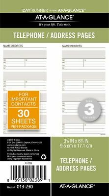 Day Runner Telephone-Address Planner Pages Size 3 - Telephone-Address Pages &