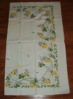 Vintage Printed Tablecloth with Yellow Roses, Green Leaves and Grey Shadows