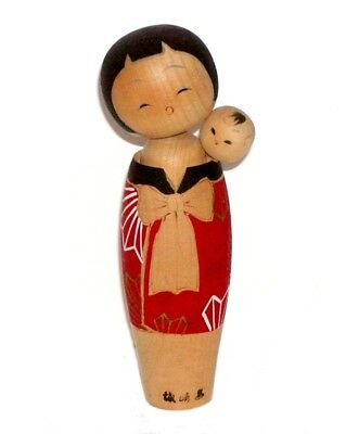 Signed 2 Japanese Vintage Wood Kokeshi Dolls Mother & Baby - A Special Bond !