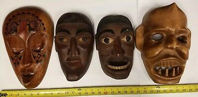 4 X MASKS carved wood -  ANTIQUE - LOT OF 4 Painted