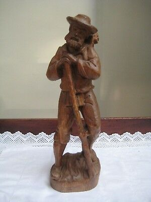 "Vintage 15"" High Black Forest Hand Carved Figure Bearded Man With Staff & Basket"