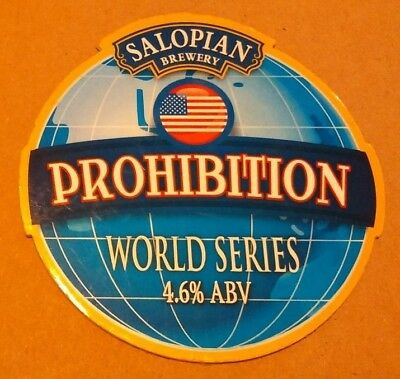 Beer pump clip badge front SALOPIAN brewery PROHIBITION real cask ale Shropshire