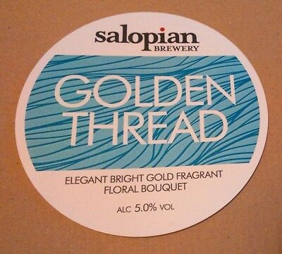 Beer pump badge clip SALOPIAN brewery GOLDEN THREAD cask ale pumpclip front