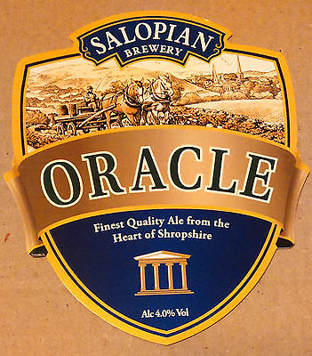 Beer pump badge clip SALOPIAN brewery ORACLE cask ale pumpclip front Shropshire