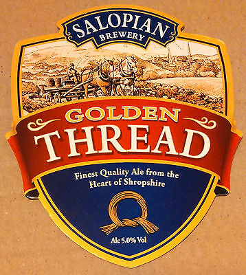 Beer pump badge clip SALOPIAN brewery GOLDEN THREAD real cask ale pumpclip front