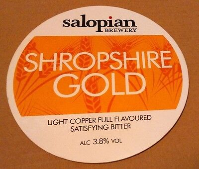 Beer pump badge clip SALOPIAN brewery SHROPSHIRE GOLD real ale pumpclip front