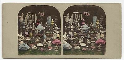 Stereo Stereoview Tinted Genre Still Life with Stereoviewer + Vase 1850s
