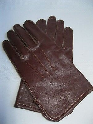 Vintage Child's Sized Leather Gloves Brown Size 2