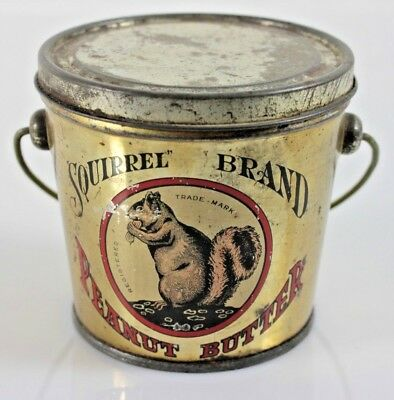 VINTAGE Squirrel Brand Peanut Butter 1lb Tin Can Pail Canada Nut Co