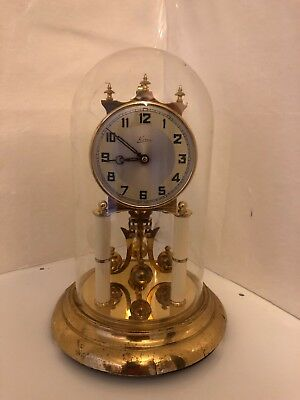 VTG KERN Spinning Pendulum ANNIVERSARY Clock GLASS DOME 400 DAY Germany
