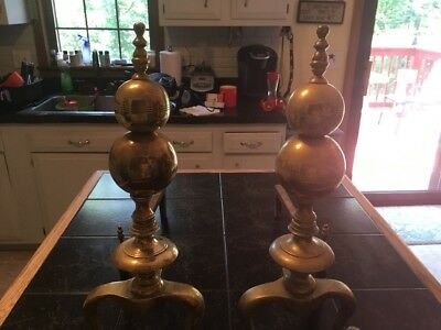 Antique Brass Andirons (Set of Two)