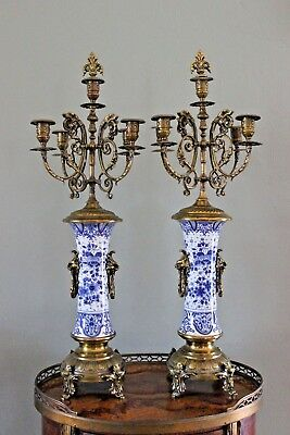 PAIR XXL Boch freres Keramis marked Candelabras candle holder brass faience dogs