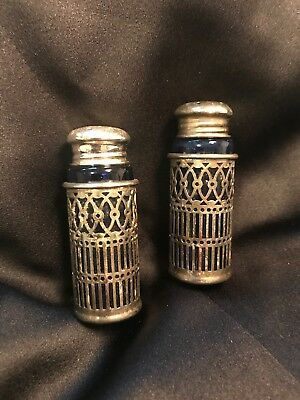 Antique Webster Sterling Silver Filigree and Cobalt Blue Glass Shaker Set of 2