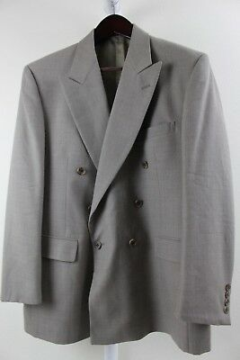 Evan Picone 100% Wool Beige W/ Brown 1 Button Double Breasted Lined Blazer - 42R